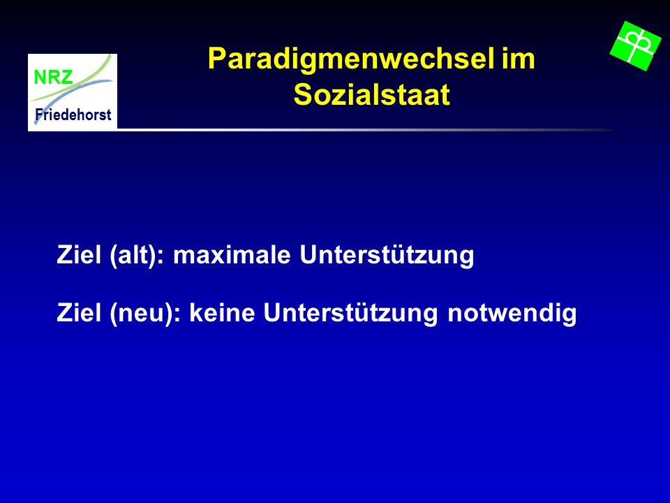 NRZ Friedehorst Paradigmenwechsel im Sozialstaat Ziel (alt): maximale Unterstützung Ziel (neu): keine Unterstützung notwendig