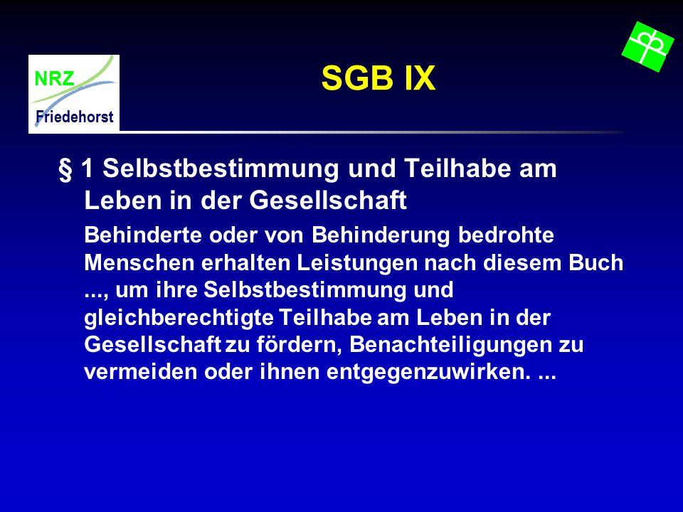 NRZ Friedehorst SGB IX § 1 Selbstbestimmung und Teilhabe am Leben in der Gesellschaft Behinderte oder von Behinderung bedrohte Menschen erhalten Leist