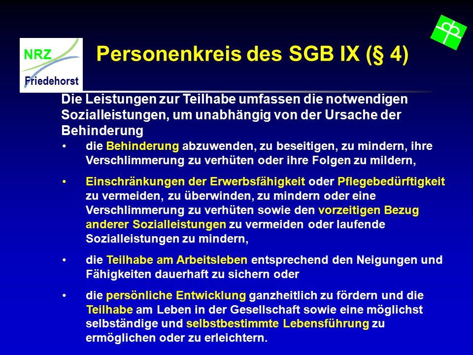 NRZ Friedehorst Personenkreis des SGB IX (§ 4) Die Leistungen zur Teilhabe umfassen die notwendigen Sozialleistungen, um unabhängig von der Ursache de