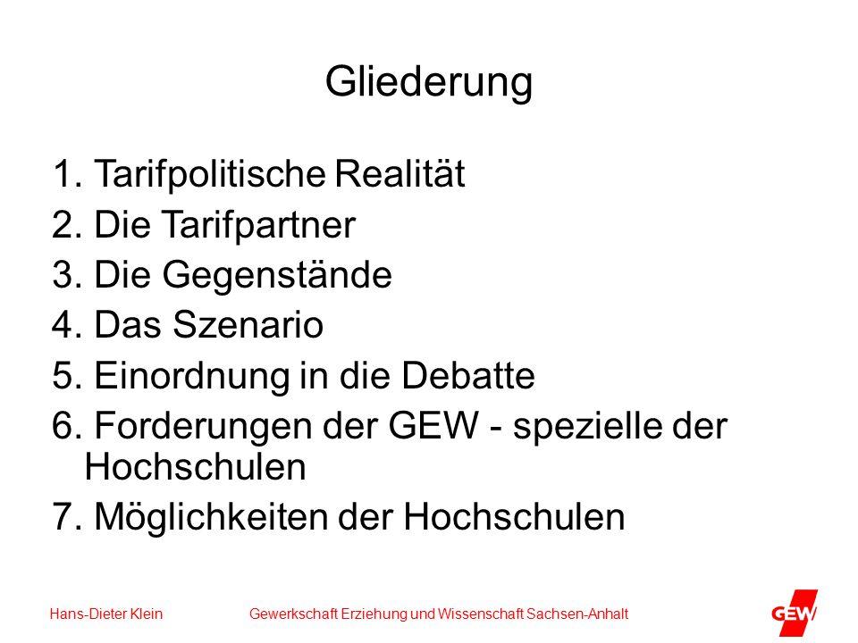 Hans-Dieter Klein Gewerkschaft Erziehung und Wissenschaft Sachsen-Anhalt Gliederung 1.