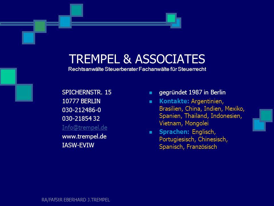 Ganzheitliche Beratungsansätze für die Heilberufe Ideen und Lösungen für heute und morgen TREMPEL & ASSOCIATES - BERLIN
