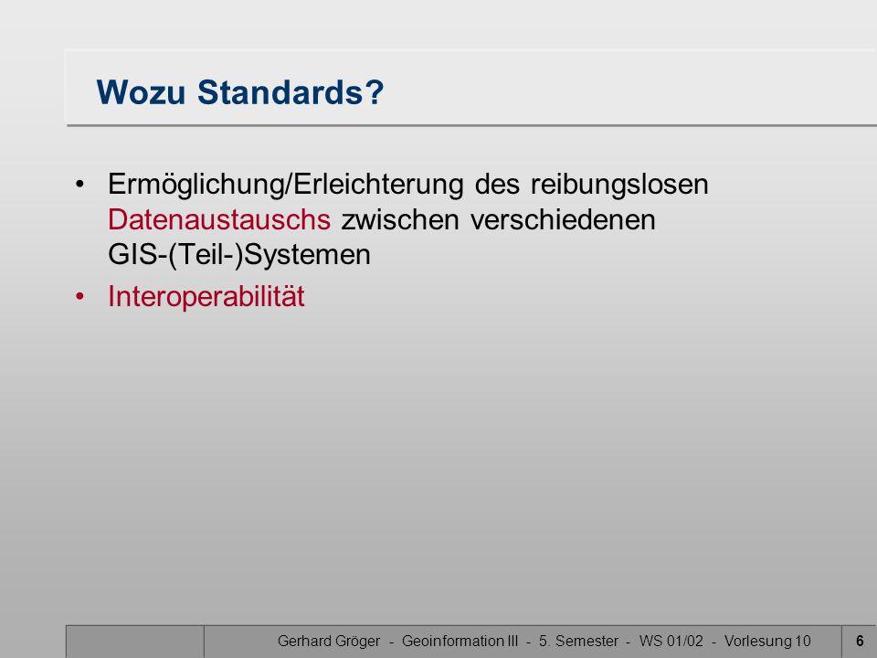 Gerhard Gröger - Geoinformation III - 5.Semester - WS 01/02 - Vorlesung 106 Wozu Standards.