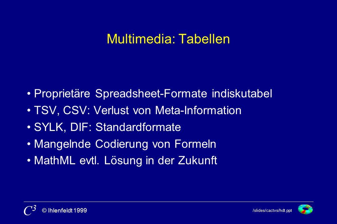 /slides/cactvs/hdt.ppt © Ihlenfeldt 1999 C3C3 Multimedia: Tabellen Proprietäre Spreadsheet-Formate indiskutabel TSV, CSV: Verlust von Meta-Information SYLK, DIF: Standardformate Mangelnde Codierung von Formeln MathML evtl.