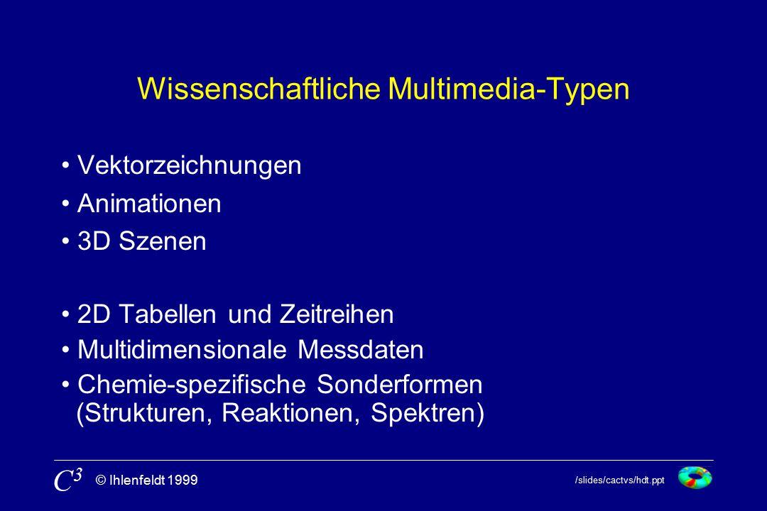 /slides/cactvs/hdt.ppt © Ihlenfeldt 1999 C3C3 Wissenschaftliche Multimedia-Typen Vektorzeichnungen Animationen 3D Szenen 2D Tabellen und Zeitreihen Multidimensionale Messdaten Chemie-spezifische Sonderformen (Strukturen, Reaktionen, Spektren)