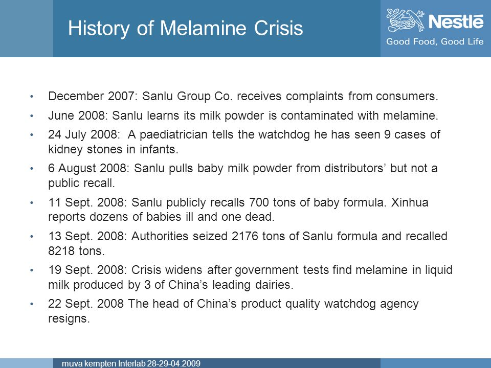 Name of chairmanmuva kempten Interlab 28-29-04.2009 History of Melamine Crisis December 2007: Sanlu Group Co. receives complaints from consumers. June