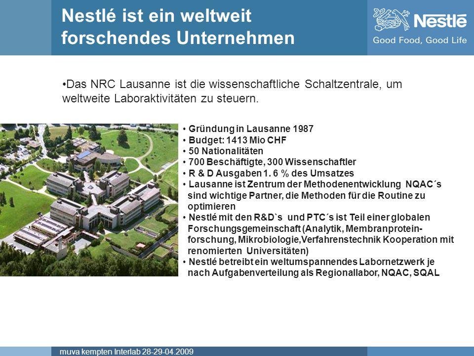 Name of chairmanmuva kempten Interlab 28-29-04.2009 Nestlé ist ein weltweit forschendes Unternehmen NRC/00002-05-UK Gründung in Lausanne 1987 Budget: 1413 Mio CHF 50 Nationalitäten 700 Beschäftigte, 300 Wissenschaftler R & D Ausgaben 1.