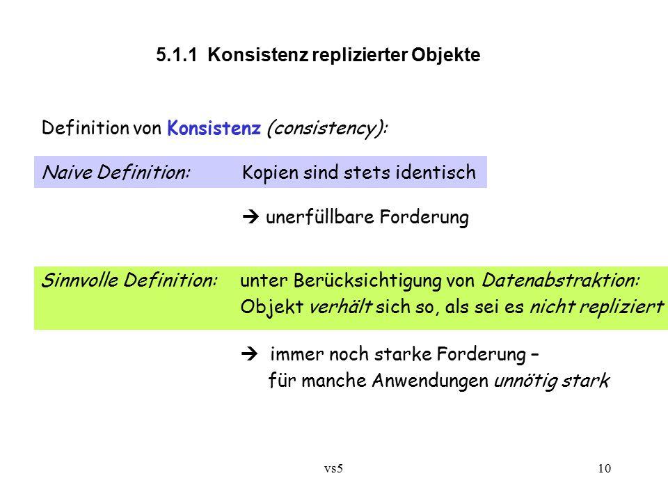vs510 5.1.1 Konsistenz replizierter Objekte Definition von Konsistenz (consistency): Naive Definition:Kopien sind stets identisch  unerfüllbare Forde