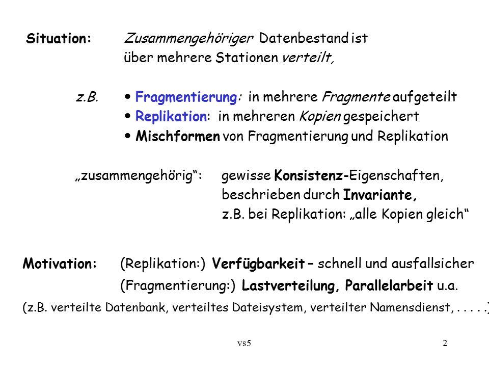 vs52 Situation:Zusammengehöriger Datenbestand ist über mehrere Stationen verteilt, z.B. Fragmentierung: in mehrere Fragmente aufgeteilt Replikation: i