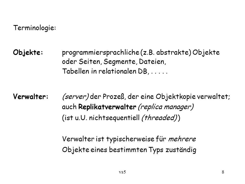 vs58 Terminologie: Objekte:programmiersprachliche (z.B. abstrakte) Objekte oder Seiten, Segmente, Dateien, Tabellen in relationalen DB,..... Verwalter