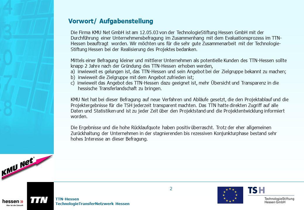 TTN-Hessen TechnologieTransferNetzwerk Hessen Vorwort/ Aufgabenstellung Die Firma KMU Net GmbH ist am 12.05.03 von der TechnologieStiftung Hessen GmbH