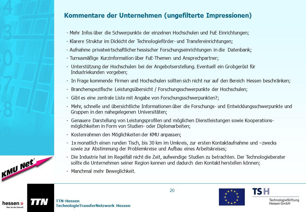TTN-Hessen TechnologieTransferNetzwerk Hessen 20 Kommentare der Unternehmen (ungefilterte Impressionen) - Mehr Infos über die Schwerpunkte der einzeln