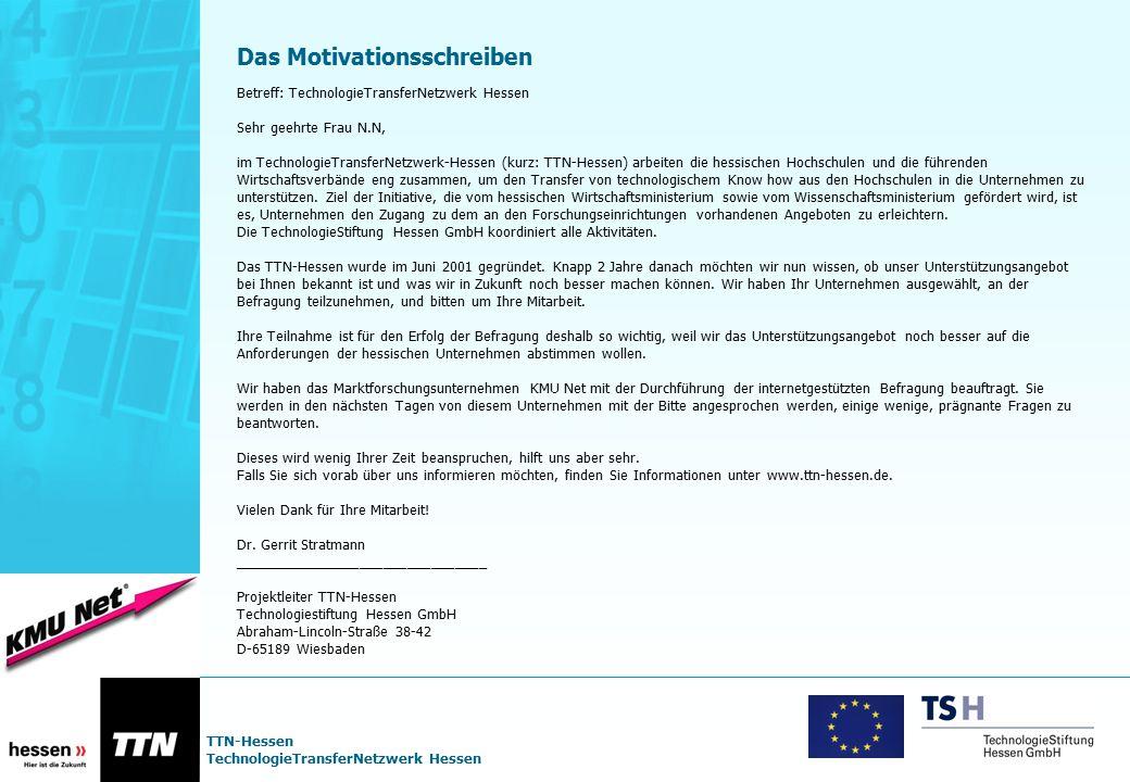 TTN-Hessen TechnologieTransferNetzwerk Hessen Das Motivationsschreiben Betreff: TechnologieTransferNetzwerk Hessen Sehr geehrte Frau N.N, im Technolog