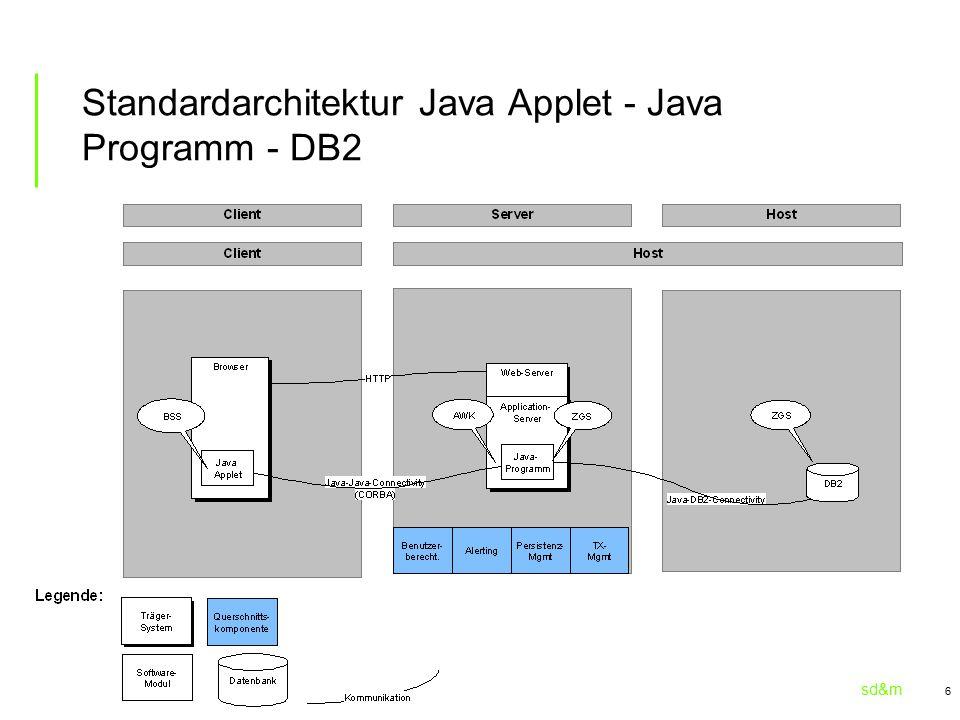 sd&m 6 Standardarchitektur Java Applet - Java Programm - DB2