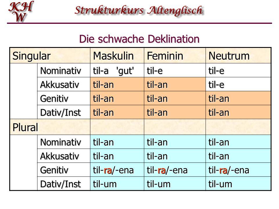 Die schwache Deklination SingularMaskulinFemininNeutrum Nominativ til-a'gut' til-etil-e Akkusativtil-antil-antil-e Genitivtil-antil-antil-an Dativ/Ins