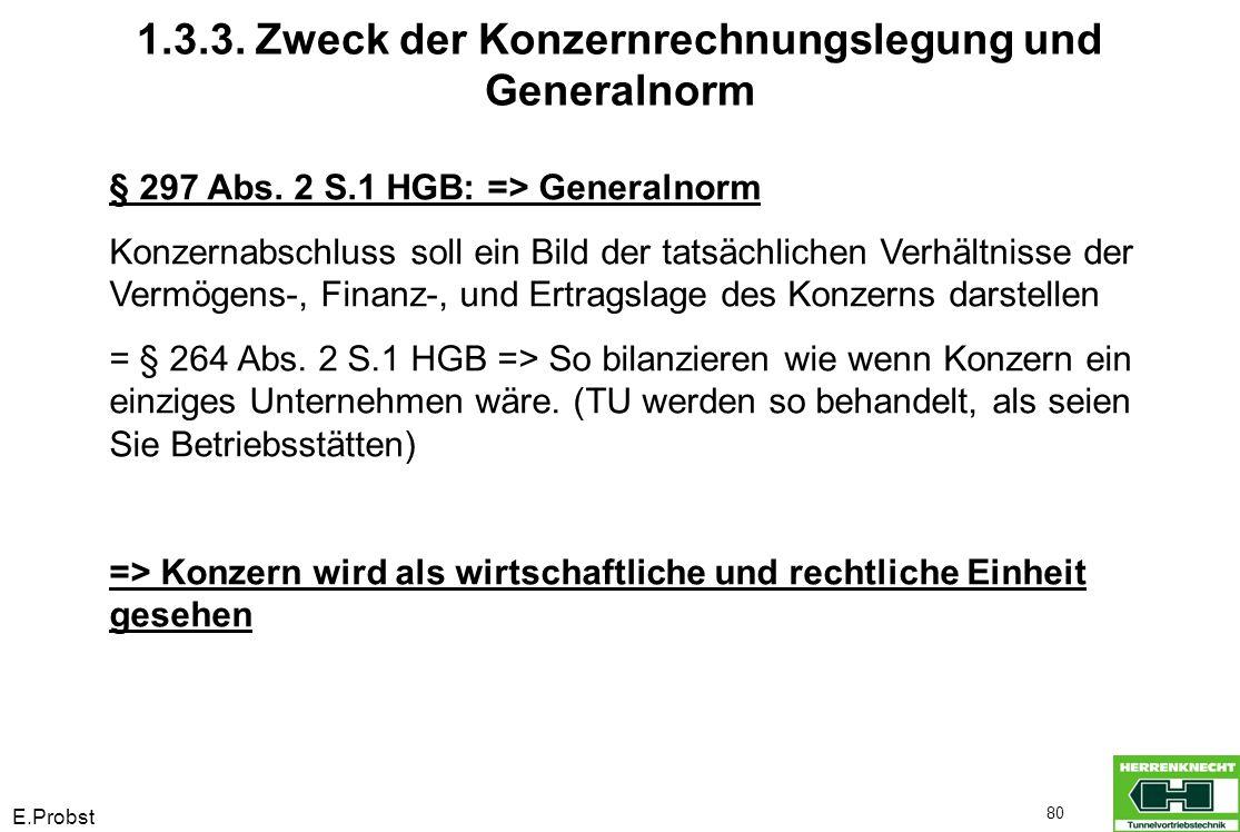 E.Probst 80 1.3.3.Zweck der Konzernrechnungslegung und Generalnorm § 297 Abs.