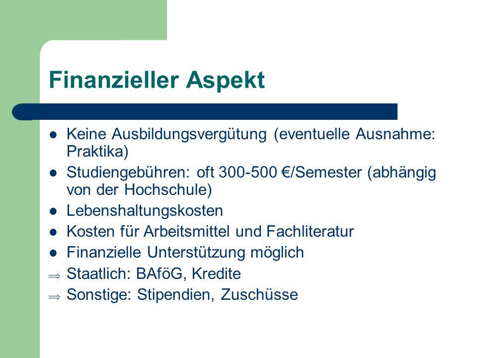 Finanzieller Aspekt Keine Ausbildungsvergütung (eventuelle Ausnahme: Praktika) Studiengebühren: oft 300-500 €/Semester (abhängig von der Hochschule) L