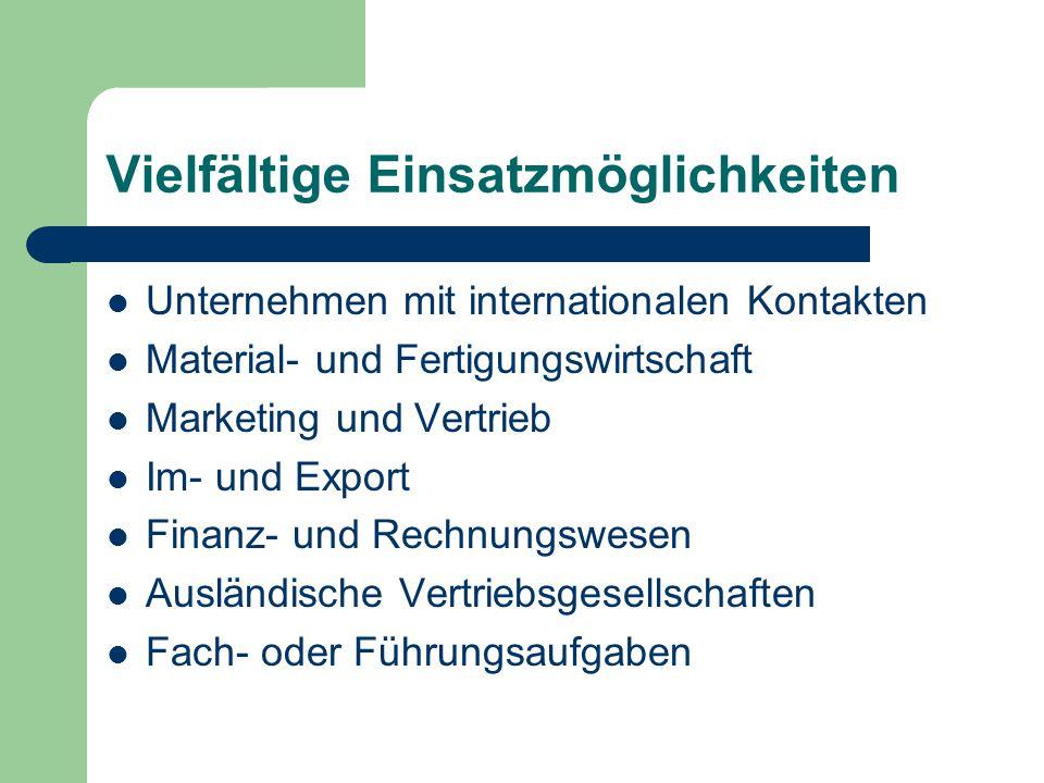 Vielfältige Einsatzmöglichkeiten Unternehmen mit internationalen Kontakten Material- und Fertigungswirtschaft Marketing und Vertrieb Im- und Export Fi