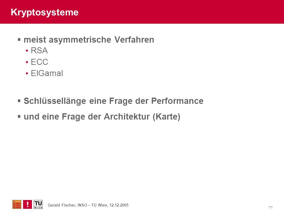 Gerald Fischer, INSO – TU Wien, 12.12.2005 11 Kryptosysteme  meist asymmetrische Verfahren ▪RSA ▪ECC ▪ElGamal  Schlüssellänge eine Frage der Perform