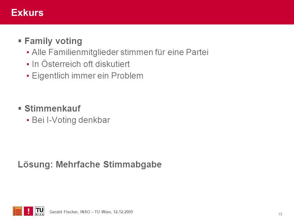 Gerald Fischer, INSO – TU Wien, 12.12.2005 15 Exkurs  Family voting ▪Alle Familienmitglieder stimmen für eine Partei ▪In Österreich oft diskutiert ▪E