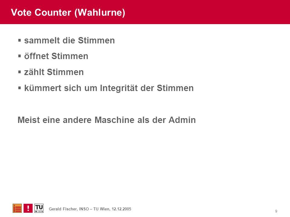 Gerald Fischer, INSO – TU Wien, 12.12.2005 9 Vote Counter (Wahlurne)  sammelt die Stimmen  öffnet Stimmen  zählt Stimmen  kümmert sich um Integrit