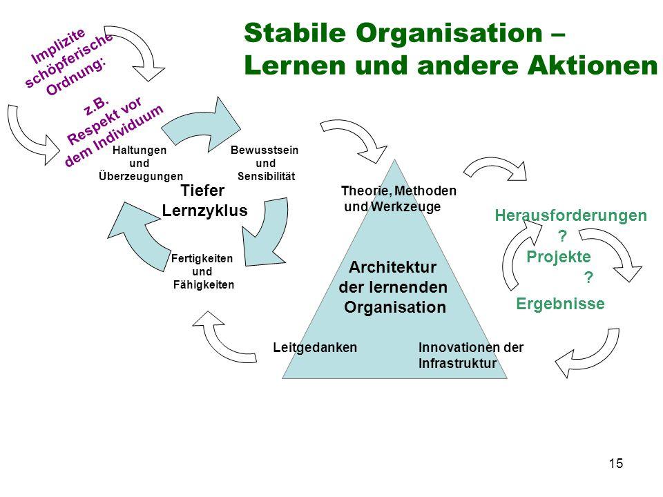 15 LeitgedankenInnovationen der Infrastruktur Architektur der lernenden Organisation Theorie, Methoden und Werkzeuge Bewusstsein und Sensibilität Fert