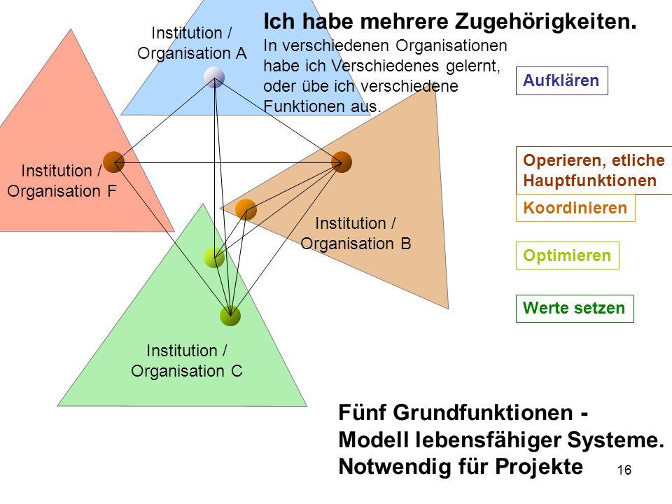 16 Institution / Organisation A Institution / Organisation F Institution / Organisation C Institution / Organisation B Ich habe mehrere Zugehörigkeite