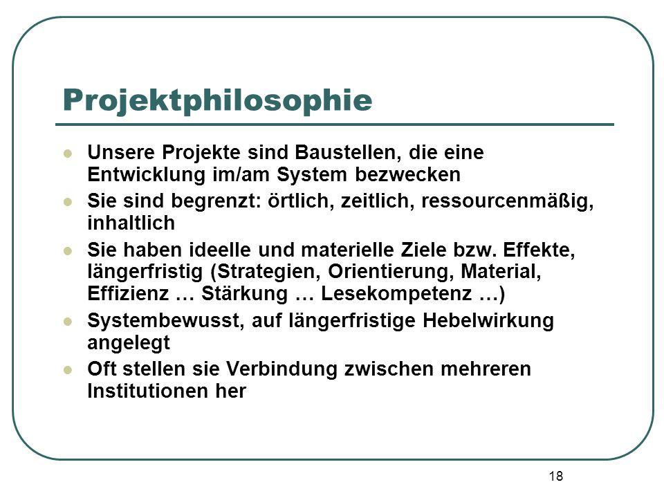 18 Projektphilosophie Unsere Projekte sind Baustellen, die eine Entwicklung im/am System bezwecken Sie sind begrenzt: örtlich, zeitlich, ressourcenmäß