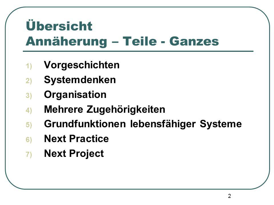 2 Übersicht Annäherung – Teile - Ganzes 1) Vorgeschichten 2) Systemdenken 3) Organisation 4) Mehrere Zugehörigkeiten 5) Grundfunktionen lebensfähiger