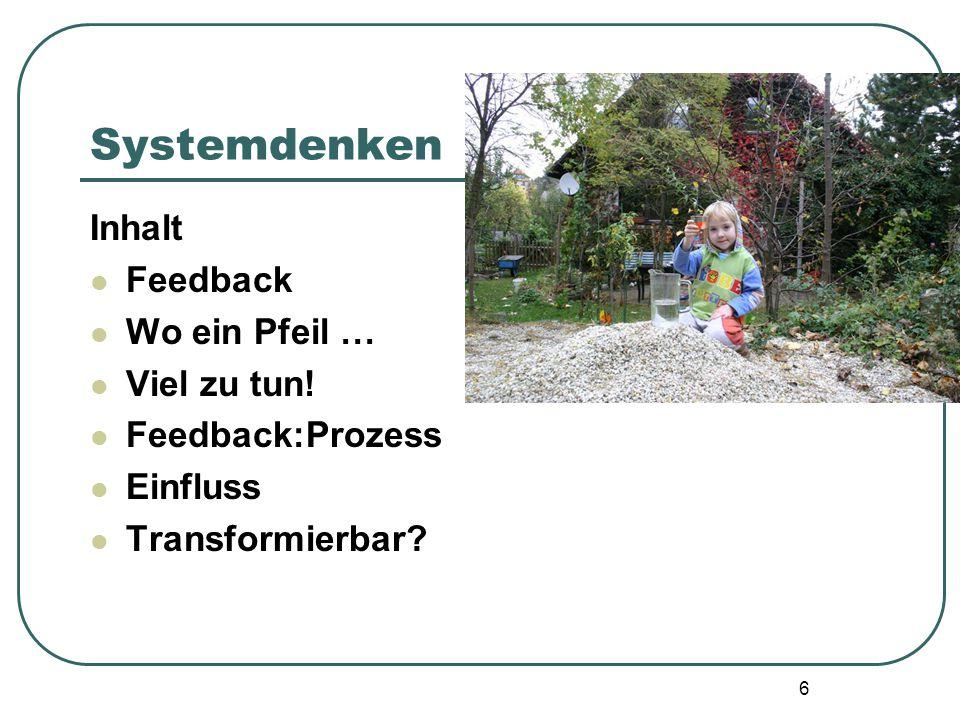 6 Systemdenken Inhalt Feedback Wo ein Pfeil … Viel zu tun! Feedback:Prozess Einfluss Transformierbar?