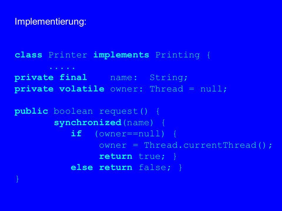 """3.1.3 Nachrüsten von Ausschluß  bei Klassen, die für sequentielle Benutzung gebaut wurden,  für Objekte, die nichtsequentiell benutzt werden,  durch Bereitstellung eines Monitors,  der als synchronisierte (""""thread-safe ) Version der Klasse eingesetzt werden kann,  typischerweise mit gleicher Schnittstelle."""