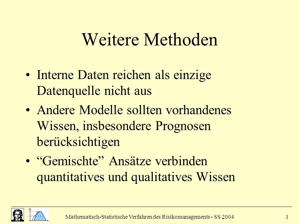 Mathematisch-Statistische Verfahren des Risikomanagements - SS 20041 Weitere Methoden Interne Daten reichen als einzige Datenquelle nicht aus Andere Modelle sollten vorhandenes Wissen, insbesondere Prognosen berücksichtigen Gemischte Ansätze verbinden quantitatives und qualitatives Wissen