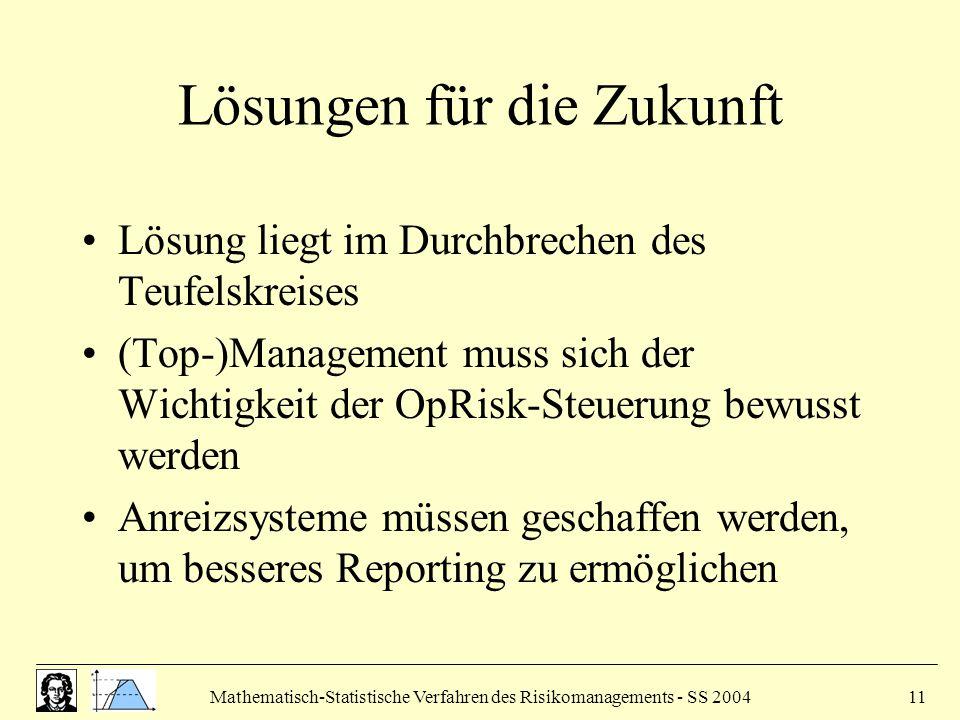 Mathematisch-Statistische Verfahren des Risikomanagements - SS 200411 Lösungen für die Zukunft Lösung liegt im Durchbrechen des Teufelskreises (Top-)Management muss sich der Wichtigkeit der OpRisk-Steuerung bewusst werden Anreizsysteme müssen geschaffen werden, um besseres Reporting zu ermöglichen