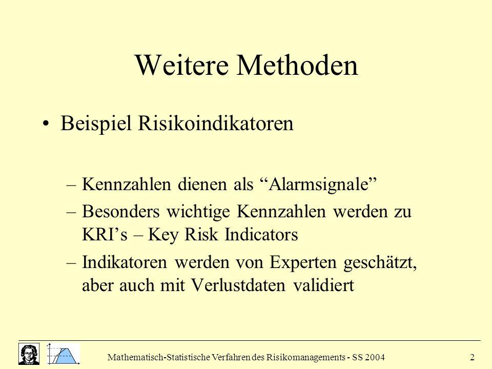 Mathematisch-Statistische Verfahren des Risikomanagements - SS 20042 Weitere Methoden Beispiel Risikoindikatoren –Kennzahlen dienen als Alarmsignale –Besonders wichtige Kennzahlen werden zu KRI's – Key Risk Indicators –Indikatoren werden von Experten geschätzt, aber auch mit Verlustdaten validiert