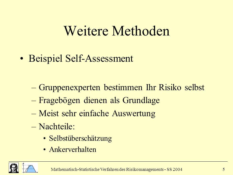 Mathematisch-Statistische Verfahren des Risikomanagements - SS 20045 Weitere Methoden Beispiel Self-Assessment –Gruppenexperten bestimmen Ihr Risiko selbst –Fragebögen dienen als Grundlage –Meist sehr einfache Auswertung –Nachteile: Selbstüberschätzung Ankerverhalten