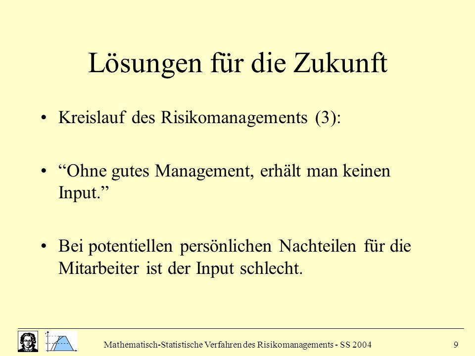 Mathematisch-Statistische Verfahren des Risikomanagements - SS 20049 Lösungen für die Zukunft Kreislauf des Risikomanagements (3): Ohne gutes Management, erhält man keinen Input. Bei potentiellen persönlichen Nachteilen für die Mitarbeiter ist der Input schlecht.