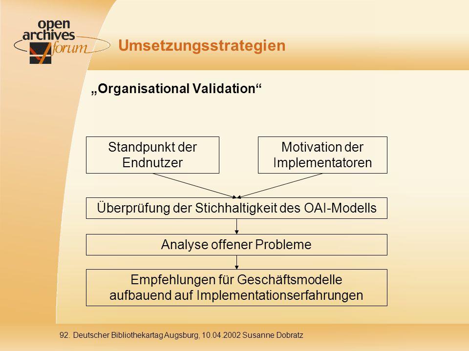 """92. Deutscher Bibliothekartag Augsburg, 10.04.2002 Susanne Dobratz Umsetzungsstrategien """"Organisational Validation"""" Standpunkt der Endnutzer Analyse o"""