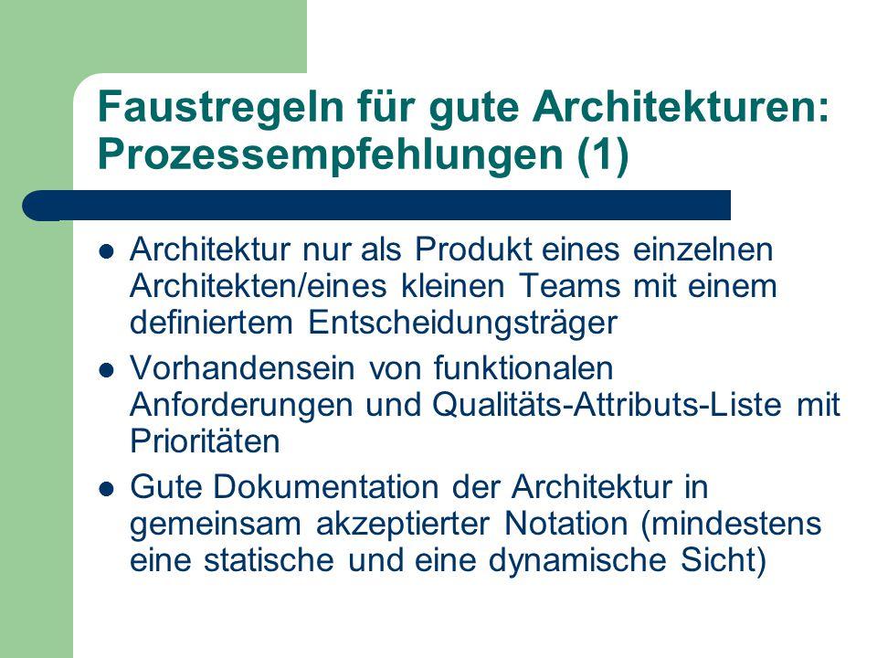 Faustregeln für gute Architekturen: Prozessempfehlungen (1) Architektur nur als Produkt eines einzelnen Architekten/eines kleinen Teams mit einem defi