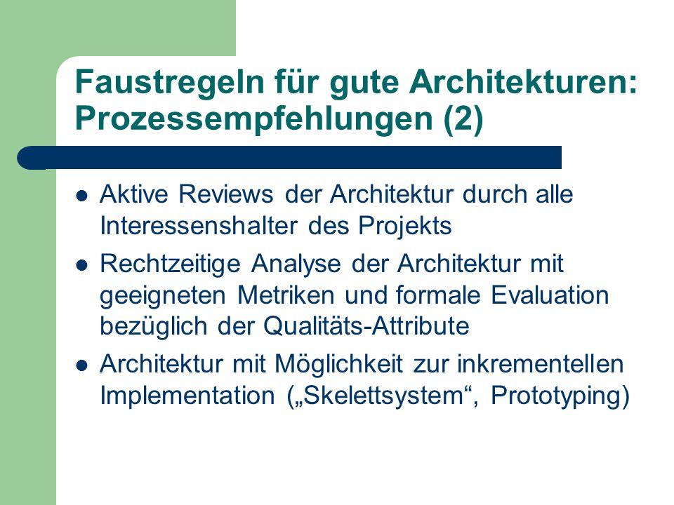 Faustregeln für gute Architekturen: Prozessempfehlungen (2) Aktive Reviews der Architektur durch alle Interessenshalter des Projekts Rechtzeitige Anal