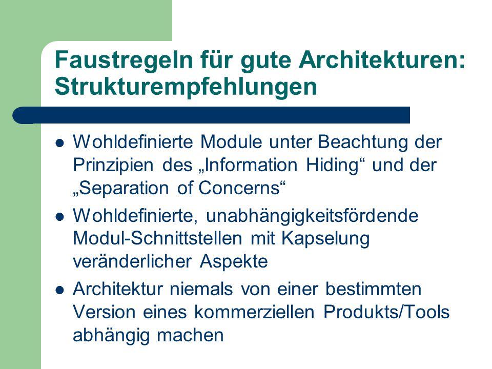 """Faustregeln für gute Architekturen: Strukturempfehlungen Wohldefinierte Module unter Beachtung der Prinzipien des """"Information Hiding"""" und der """"Separa"""