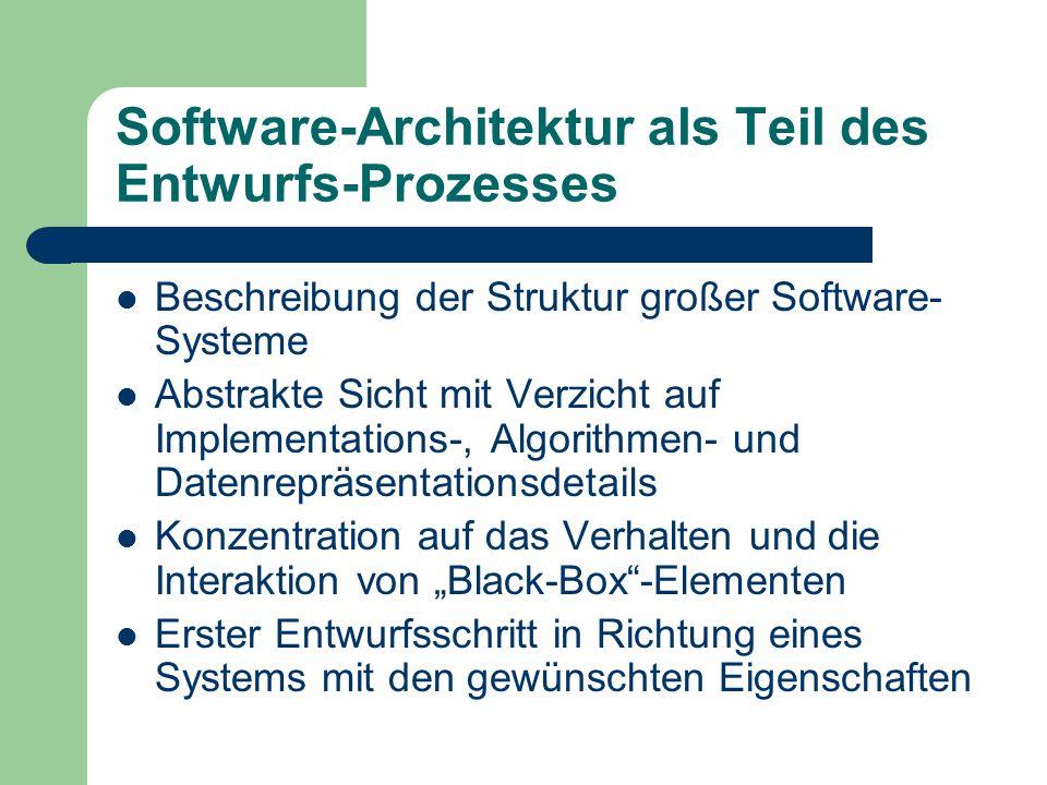 Software-Architektur als Teil des Entwurfs-Prozesses Beschreibung der Struktur großer Software- Systeme Abstrakte Sicht mit Verzicht auf Implementatio