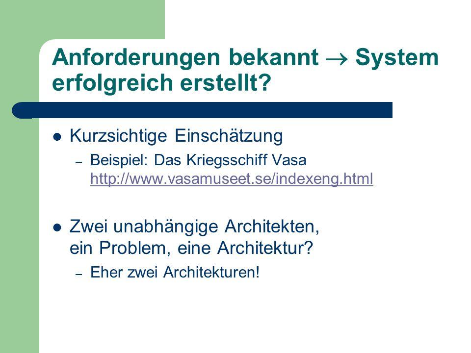 Anforderungen bekannt  System erfolgreich erstellt? Kurzsichtige Einschätzung – Beispiel: Das Kriegsschiff Vasa http://www.vasamuseet.se/indexeng.htm
