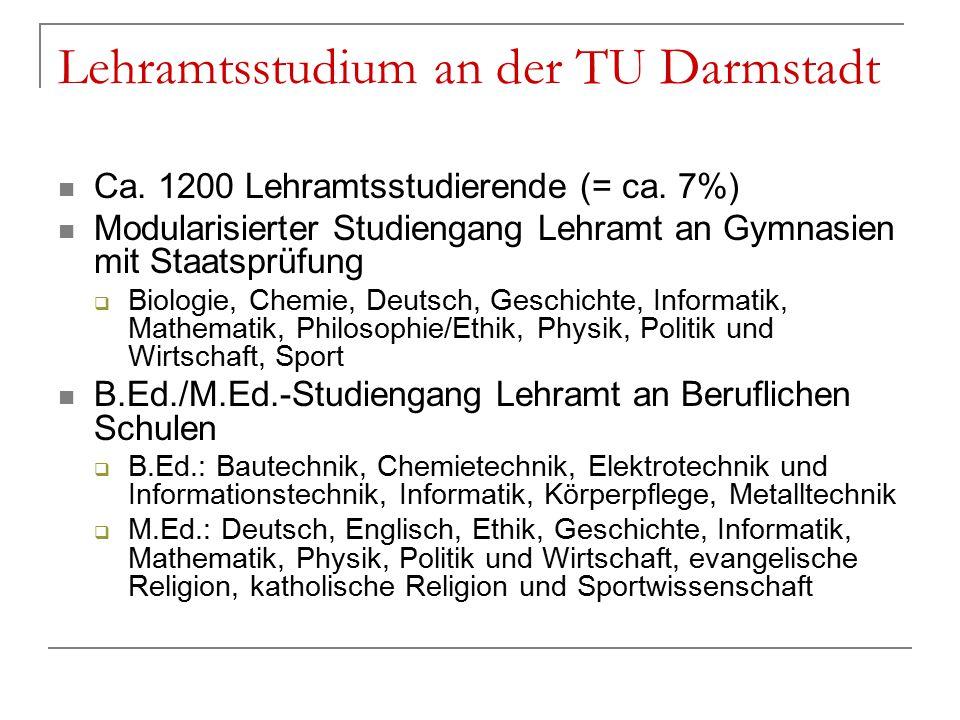 Lehramtsstudium an der TU Darmstadt Ca. 1200 Lehramtsstudierende (= ca.