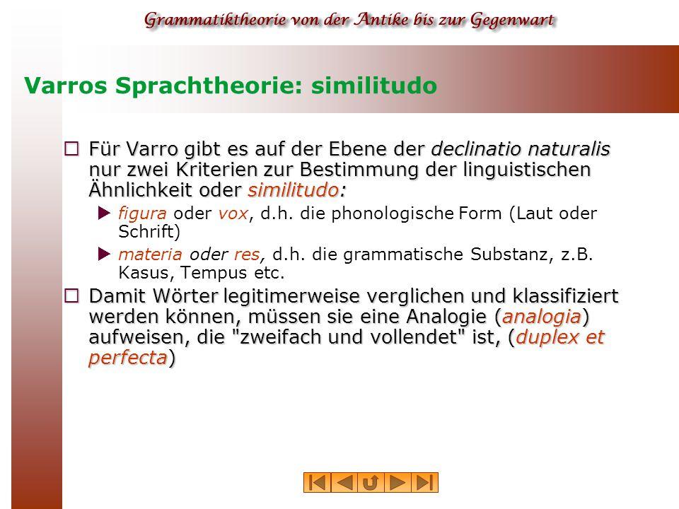 Varros Sprachtheorie: Analogie  Zur Erklärung seiner Konzeption von grammatischer Analogie verwendet Varro eine Reihe arithmetischer Proportionen.