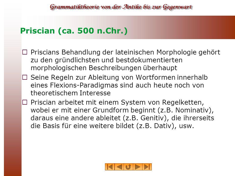 Priscian (ca.500 n.Chr.)  Priscians letzte beiden Bücher (Priscianus Minor) behandeln die Syntax.