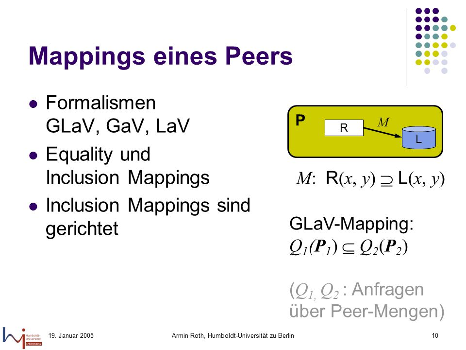 19. Januar 2005Armin Roth, Humboldt-Universität zu Berlin10 Mappings eines Peers Formalismen GLaV, GaV, LaV Equality und Inclusion Mappings Inclusion