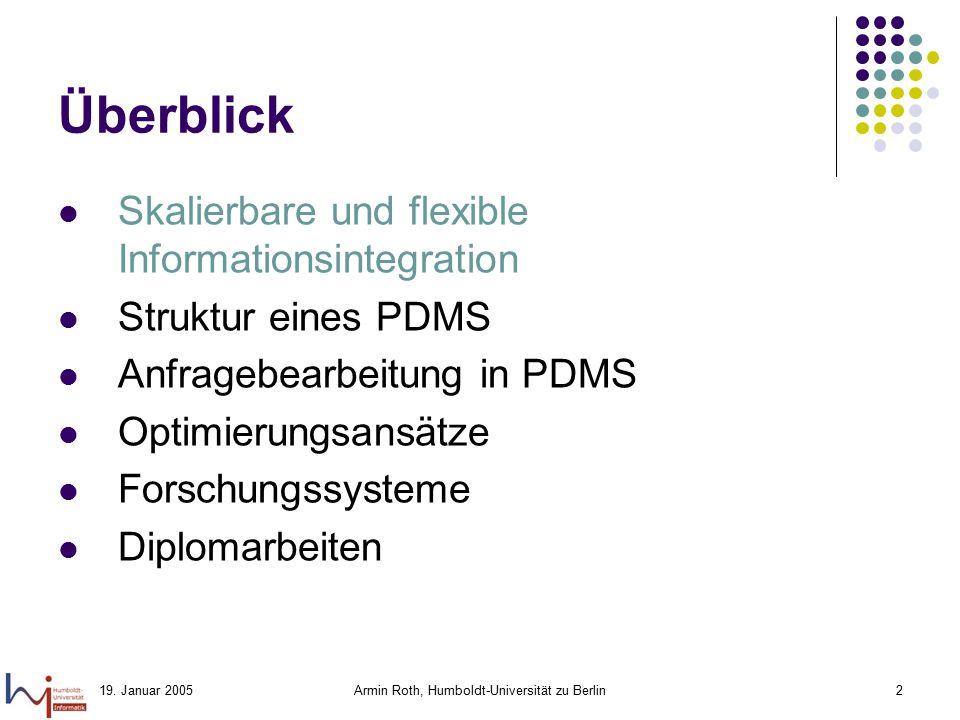 19. Januar 2005Armin Roth, Humboldt-Universität zu Berlin2 Überblick Skalierbare und flexible Informationsintegration Struktur eines PDMS Anfragebearb