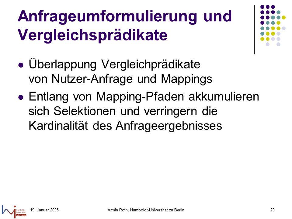 19. Januar 2005Armin Roth, Humboldt-Universität zu Berlin20 Anfrageumformulierung und Vergleichsprädikate Überlappung Vergleichprädikate von Nutzer-An