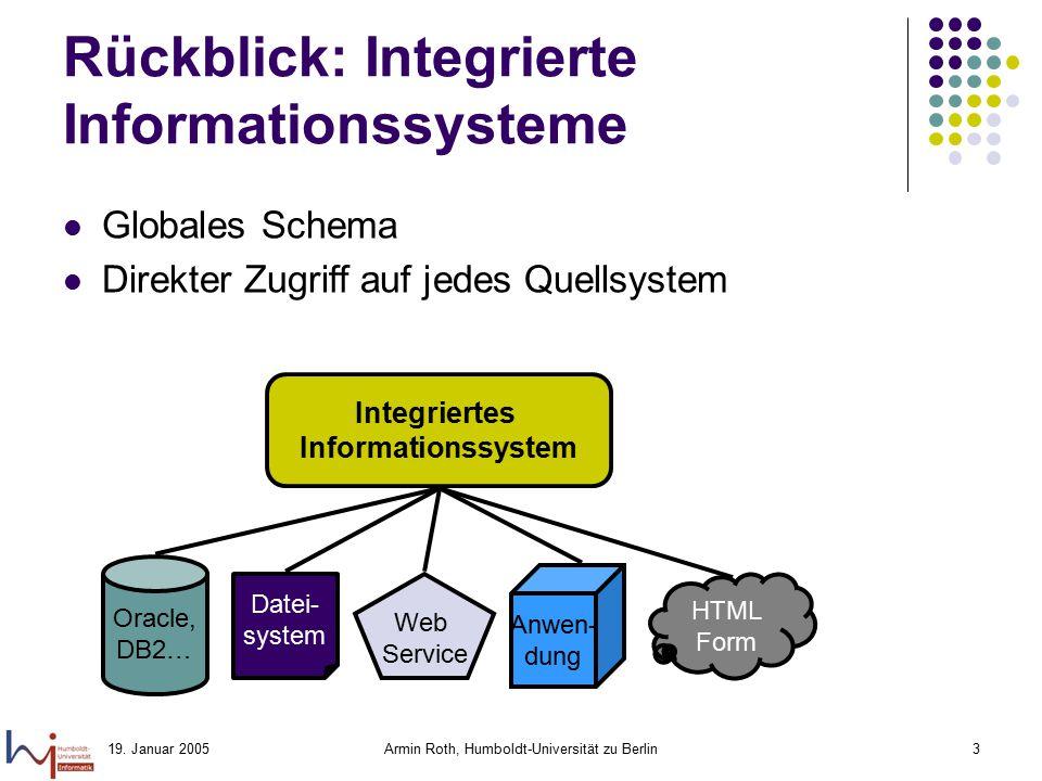 19. Januar 2005Armin Roth, Humboldt-Universität zu Berlin3 Rückblick: Integrierte Informationssysteme Globales Schema Direkter Zugriff auf jedes Quell