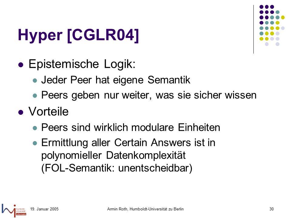 19. Januar 2005Armin Roth, Humboldt-Universität zu Berlin30 Hyper [CGLR04] Epistemische Logik: Jeder Peer hat eigene Semantik Peers geben nur weiter,