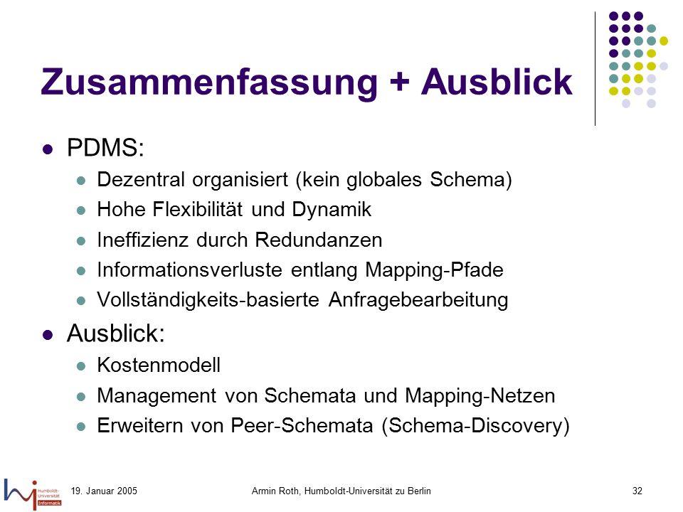 19. Januar 2005Armin Roth, Humboldt-Universität zu Berlin32 Zusammenfassung + Ausblick PDMS: Dezentral organisiert (kein globales Schema) Hohe Flexibi